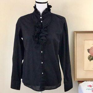 J. Crew Factory Black Ruffle Button Down Shirt